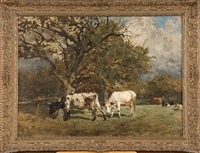 vaches au pré by alfred jacques verwee