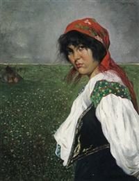 portrait eines zigeunermädchens vor eine pusztalandschaft by franz obermüller
