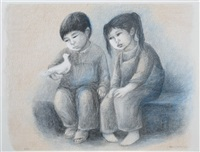seated children (3 works) by fanny rabel