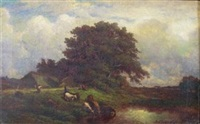 landscape with figures and pond by léonce chabry