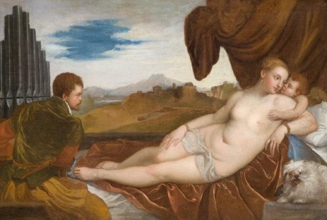 vénus allongée avec un joueur dorgue after titian by lambert sustris