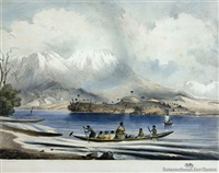kaitote & tongariro from roto-aire lake (pair) by george french angas