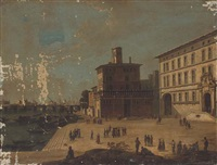 an italianate river side city with figures promenading before a palazzo by italian school-piedmont (19)