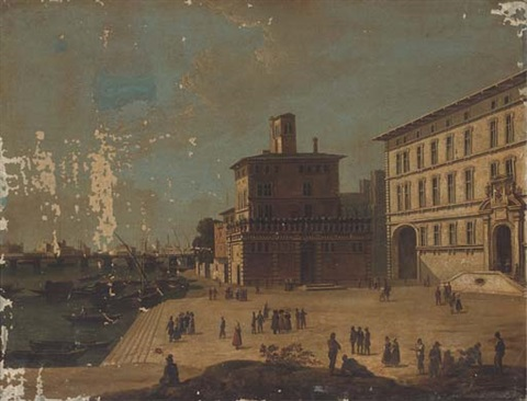 an italianate river side city with figures promenading before a palazzo by italian school piedmont 19