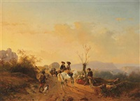 an escorted caravan at dusk by andreas schelfhout & joseph jodocus moerenhout