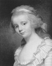 portrait de jeune fille au noeud bleu dans les cheveux by marie-victoire lemoine