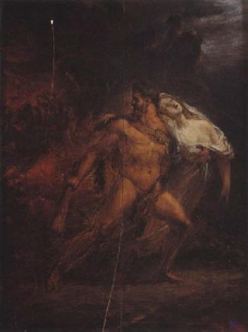 hercule ramenant alceste des enfers pour la rendre à admète by louis charles auguste couder