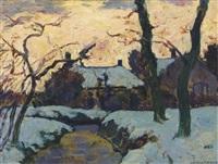 winterlandschap, zonsondergang te loosduinen: twilight by charles dankmeijer