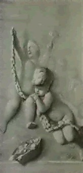 putti playing with a swag, en grisaille by nicolas baur