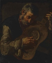 an old man playing the guitar by master of the annunciation to the shepherds