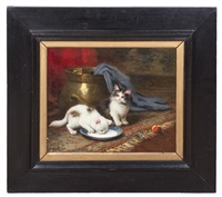 two kittens by léon charles huber