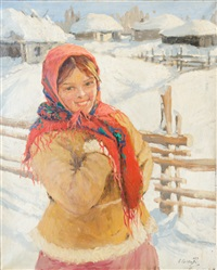 paysanne au foulard by sergei shishko