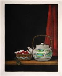 cherries and teapot by tomoe yokoi