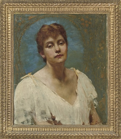 portrait of lily bust length in a white dress by jack