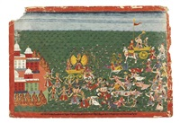 battle between bansura and krishna (from bhagavata purana series) by anonymous-nepalese (18)
