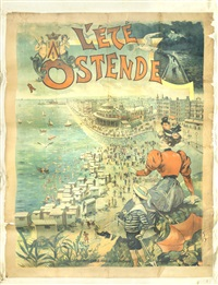 l'été à ostende' a lithographic poster by francisco tamagno