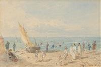 meeresstrand mit badenden und segelboot by franz alt