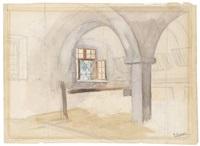 inneres eines stalls (+ interieur mit einer bauernfamilie, verso) by ernst graner