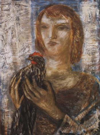 nö kendermagos kakassal 1951 woman with a coquerel by jenö gadányi