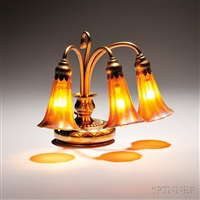 three-light desk lamp by tiffany studios