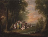 a wooded, river landscape with children singing in a clearing, at sunset by maria spilsbury