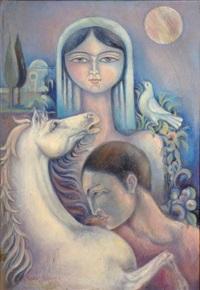 couple et cheval, scène nocturne by abbas moayeri