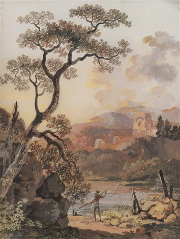 landschaft mit ruinen in 2 parts by balthasar anton dunker