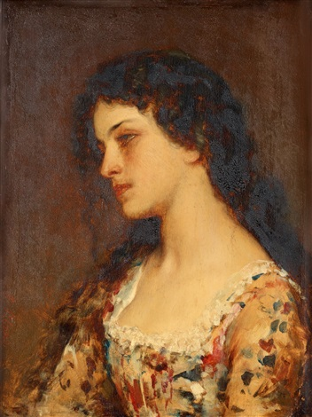 porträtt av ung dam by eugen von blaas