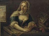 a young girl plucking a bird by felice boselli
