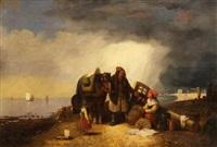 fischerfamilie am strand by eugène modeste edmond le poitevin