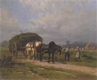 harvest scene by valère alphonse morland