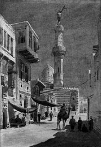 orientalische straße mit einer moschee by wilhelm lauter