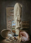 still life with ivory figure and shells by stuart morle