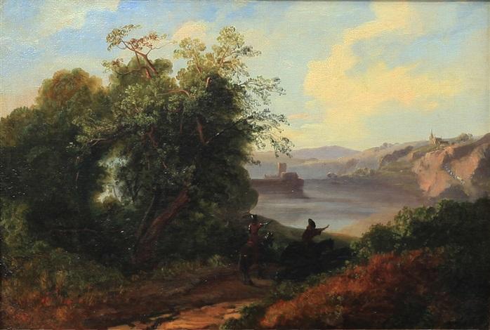 paesaggio fluviale con figure a cavallo by massimo dazeglio