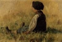 jeune fille assise dans un champ by henri van muyden