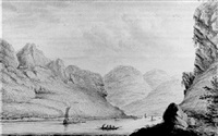 a distant view of hirzenach from the west bank of the rhine by hendrick de leth