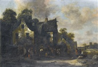 mounted travellers and other figures gathered outside an inn by klaes molenaer