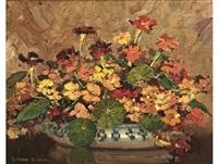 nasturtiums in a bowl by adriaan hendrik boshoff
