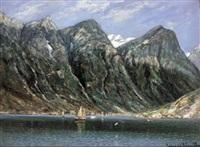 sailing boats in a fjord by conrad hans selmyhr
