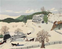 the old covered bridge by grandma moses