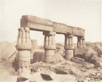 égypte. karnak (thèbes). palais - partie postérieure - fragments de colonnades vus du point s. by félix teynard