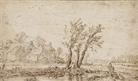 a landscape with buildings and three windswept willows in the centre foreground by jan josefsz van goyen