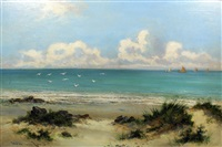beach scene with boats to horizon by william langley