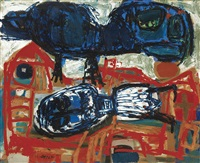 chat sur un toit (1951) by karel appel