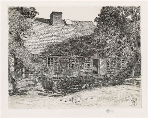 the old mulford house easthampton by childe hassam