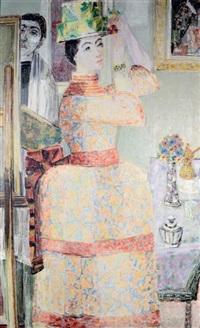 jeune femme au chapeau fleuri by cricor garabetian
