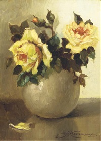yellow roses in an earthenware vase by johan hendrik kaemmerer