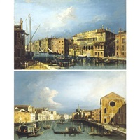 view of the grand canal and the fondaco dei turchi ( + view of the grand canal, looking north east from santa croce to san geremia; pair) by francesco albotti