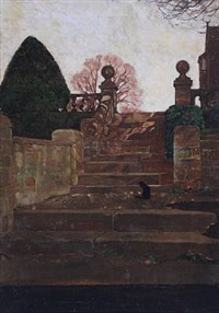 cat on a flight of steps by william dacres adams