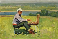 painting en plein air by ivan aristov